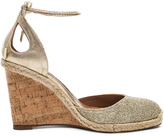 Aquazzura Leather Palm Beach Espadrille Wedges