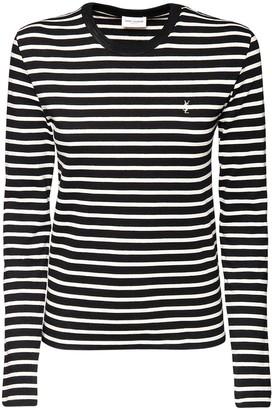 Saint Laurent Striped Cotton Jersey Top W/ Logo