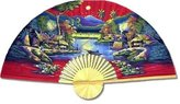 Oriental Furniture Asian Art, Decor and Gifts, 40-Inch Hand Painted Thai Silk and Bamboo Decorative Wall Fan, Spring Harvest