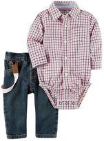 Carter's Baby Boy Plaid Button-Down Bodysuit & Suspender Jeans Set