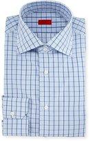 Isaia Box Check Mitered-Cuff Dress Shirt, White/Blue