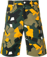 MSGM abstract print denim shorts