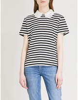 Claudie Pierlot Detachable-collar striped jersey top