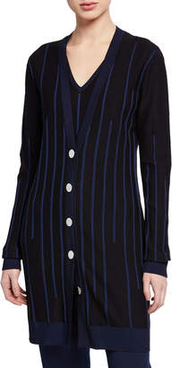 St. John Plaited Engineered Rib Knit Button-Front Cardigan