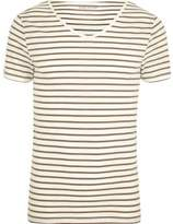 River Island Mens Cream stripe short sleeve muscle fit T-shirt