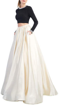Mac Duggal Ieena for Colorblock Two-Piece Ball Gown Set w/ Beaded Neck Crop Top & Pleated Skirt