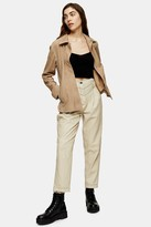 Topshop Cream Leather Peg Trousers