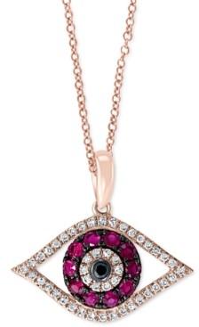 "Effy Certified Ruby (1/4 ct. t.w.) & Diamond (1/8 ct. t.w.) 18"" Evil Eye Pendant Necklace in 14k Rose Gold"