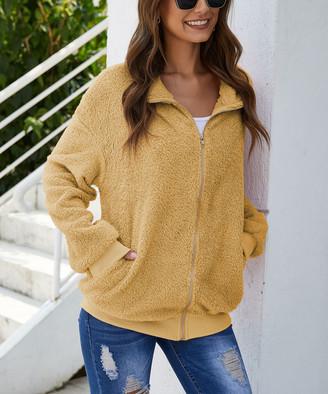 Maison Mascallier Women's Non-Denim Casual Jackets Yellow - Yellow Plush Pocket Zip-Up Jacket - Women