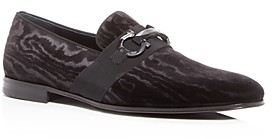 Salvatore Ferragamo Men's Schwartz Wood Grain Pattern Velvet Loafers