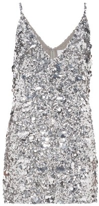 Ashish Sequinned Mini Dress - Silver