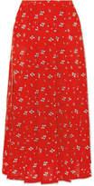 RIXO London - Georgia Pleated Floral-print Silk Crepe De Chine Midi Skirt - Red