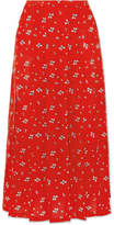 RIXO London - Georgia Pleated Floral-print Silk Midi Skirt - Red