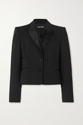 Tom Ford Silk Satin-trimmed Wool-blend Blazer - Black
