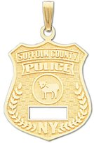 US Jewels And Gems 10k Suffolk County Police Officer Badge Pendant