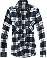 uxcell Allegra K Men Plaids Flannel Shirt w Flap Pockets