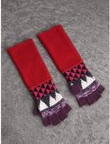 Burberry Geometric Cashmere Wool Blend Fingerless Gloves