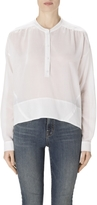 J Brand Gail Long Sleeve Henley in White