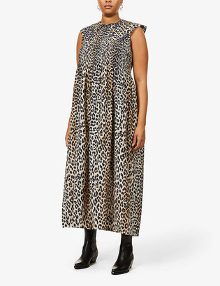 Ganni Sleeveless leopard-print cotton and silk-blend midi dress