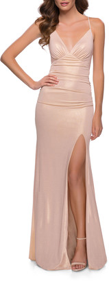 La Femme Metallic Jersey Gown w/ Lace-Up Back