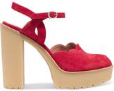 RED Valentino Scalloped Suede Platform Sandals