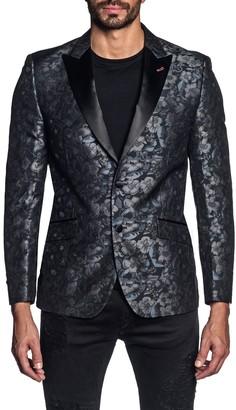 Jared Lang Navy Floral Pattern Jacquard Two Button Peak Lapel Blazer
