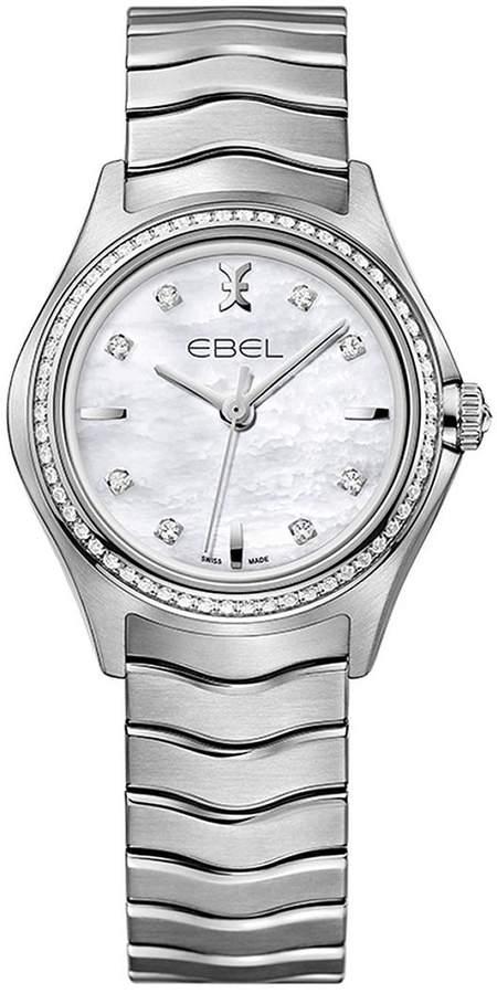 Ebel Wave 1216194 Mother Of Pearl Diamond Set Stainless Steel Bracelet Ladies Watch