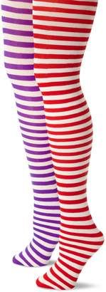 Music Legs MUSIC LEGS Women's Petite 2 Pack Opaque Striped Tights