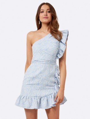 Forever New Sophie one shoulder dress - Blue and White - 10