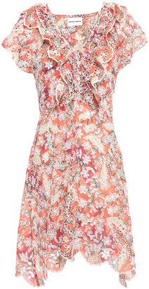 Antik Batik Shiffly Ruffled Floral-print Broderie Anglaise Cotton Mini Dress