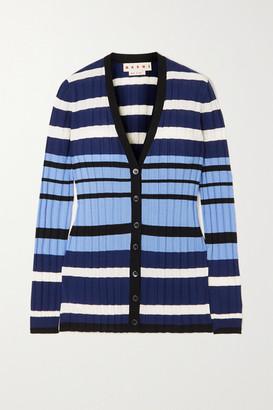 Marni Striped Ribbed Wool Cardigan - Brown