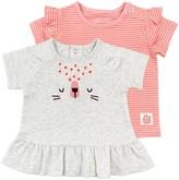 M·A·C Baby Girl Mac & Moon 2-Pack Short Sleeve Ruffle Tees in Stripes & Cheetah Print
