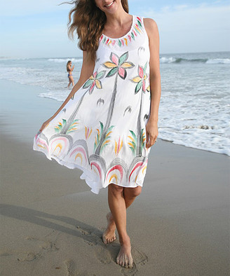 Ananda's Collection Women's Casual Dresses white - White Hand-Painted Palm Tree Dress - Plus