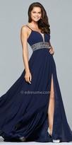 Faviana Plunging Lace Up Beaded Chiffon Slit Dress