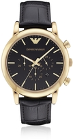 Emporio Armani Goldtone Stainless Steel Men's Watch w/Black Dial