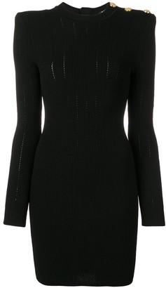 Balmain Shoulder Button Knit Dress