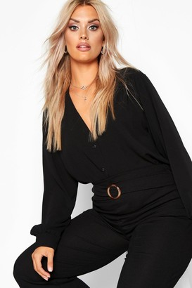 boohoo Plus Woven Button Through Collarless Shirt