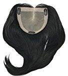 "Fortune Monofilament Bondable Human Hair Women's Kippah Topper- Color #1 Black - 10"" Long-Straight Hair Texture"