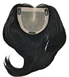 "Fortune Monofilament Bondable Human Hair Women's Kippah Topper- Color #24/14/12 Dirty Blonde Base w/ Light & Platinum Blonde Highlights - 10"" Long-Straight Hair Texture"