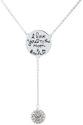 """Swarovski Golden Moon Women's Necklaces Silver - Silvertone """"Love You"""" Lariat Necklace With Crystals"""