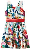 Us Angels Printed Pique V-Neck Tank Dress w/ Flare Skirt (Big Kids)