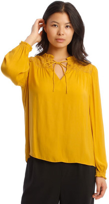 Piper Rouched Sleeve Top With Embroidery Detail