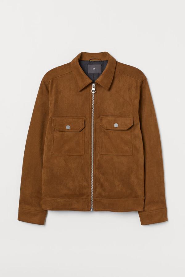 H&M Faux Suede Shirt Jacket - Beige