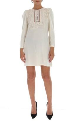 Alberta Ferretti Lace Front Mini Dress