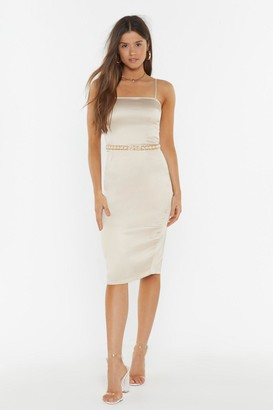 Nasty Gal The First to Dance Fitted Satin Dress