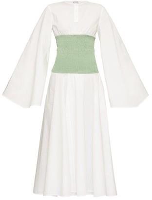 Loewe Smocked-waist Wide-sleeve Poplin Dress - White Multi