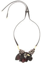 Marni Crystal embellished leather necklace