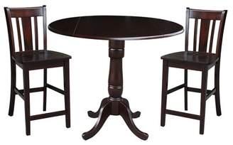 August Grove Sprayberry Round Top Pedestal Extending 3 Piece Pub Table Set August Grove Color: Rich Mocha