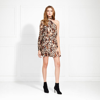 Rachel Zoe Fergie One Sleeve Leopard Mini Dress