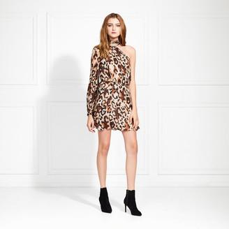 Rachel Zoe Fergie One Sleeve Leopard Mini Dress